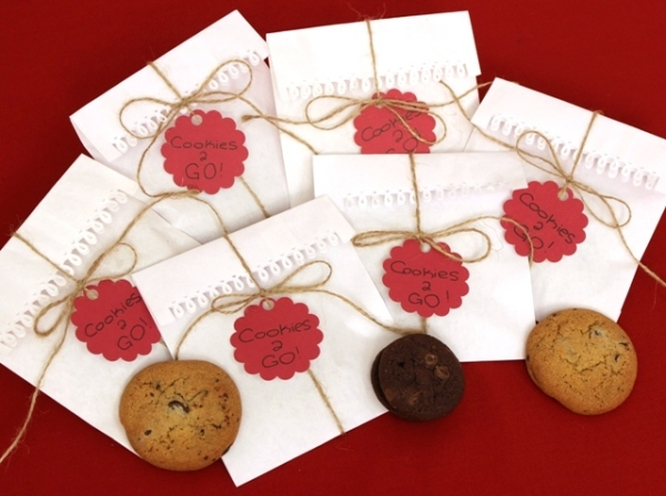 Cookie Bags Decorated With Cutout Borders, Twine, and Cutout Labels