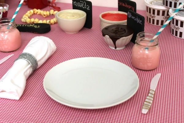 Place Setting for Valentine's Day Cookie Decorating Party