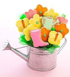 Mother's Day Watering Can Cookie Flowers
