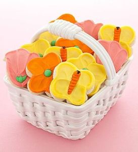 Spring Ceramic Basket Cutout Cookies