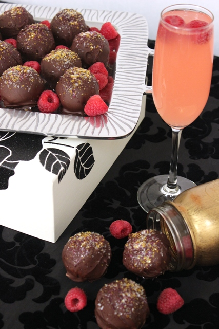 Chocolate Raspberry Cookie Bombs Served With Sparkling Juice