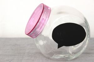 Cookie Jar With Conversation Bubble Chalkboard Label