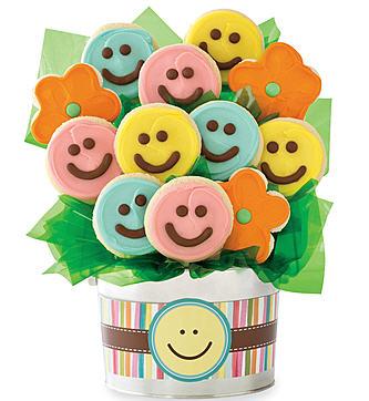 Happy Face Cookie Flower Pot