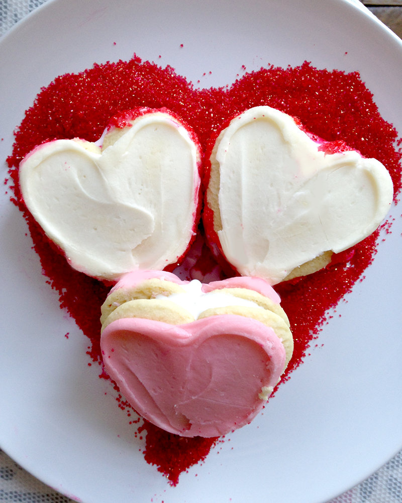 Easy Valentine's Day Buttercream Frosted Ice Cream Sandwiches